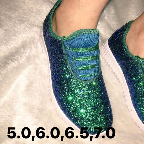 Shoes   Mermaid Green Glitter Sneakers